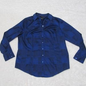 Lane Bryant Houndstooth Long Sleeve Button Up Top